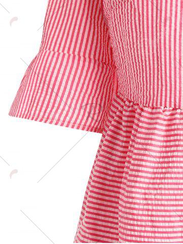 Chic Flare Sleeve Striped Shift Dress - XL RED Mobile