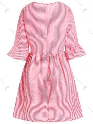Cheap Flare Sleeve Striped Shift Dress - XL RED Mobile