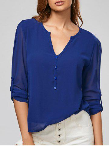 V Neck Sheer Chiffon Button Blouse - Deep Blue - S