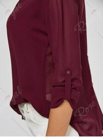 Cheap V Neck Sheer Chiffon Button Blouse - 2XL WINE RED Mobile
