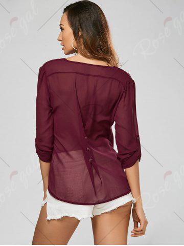 Best V Neck Sheer Chiffon Button Blouse - 2XL WINE RED Mobile