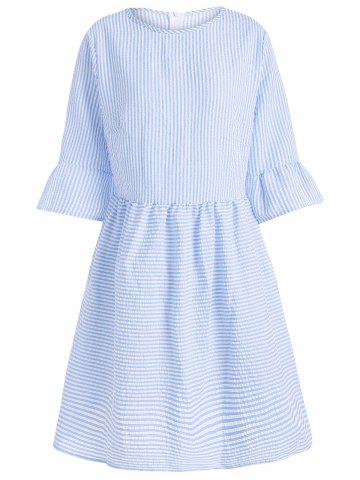 Outfits Flare Sleeve Striped Shift Dress - XL CLOUDY Mobile