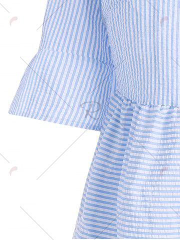 Shop Flare Sleeve Striped Shift Dress - XL CLOUDY Mobile