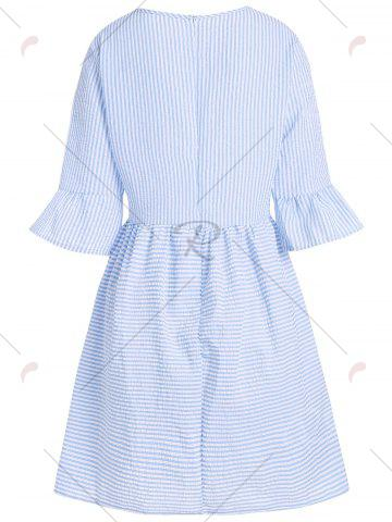 New Flare Sleeve Striped Shift Dress - XL CLOUDY Mobile