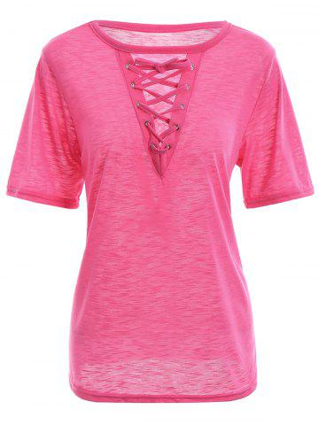 New Criss Cross Lace Up Front Summer T-shirt TUTTI FRUTTI S