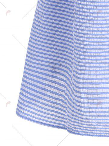 Outfits Flare Sleeve Striped Shift Dress - XL BLUE Mobile