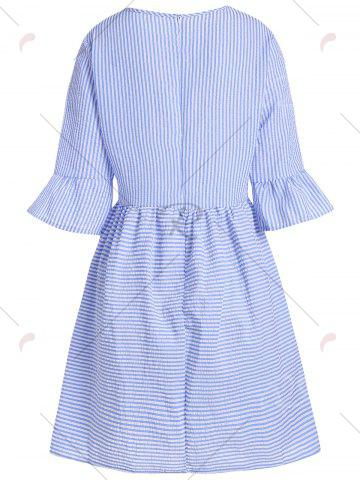 Outfit Flare Sleeve Striped Shift Dress - XL BLUE Mobile