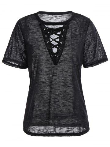 Criss Cross Lace Up Front Summer T-shirt - Black - L