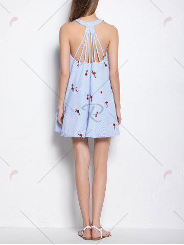Hot Strappy Open Back Embroidered Stripe Dress - ONE SIZE LIGHT BLUE Mobile