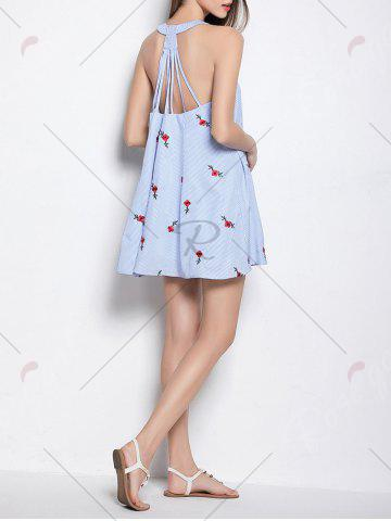 Outfits Strappy Open Back Embroidered Stripe Dress - ONE SIZE LIGHT BLUE Mobile