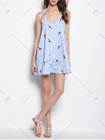 Chic Strappy Open Back Embroidered Stripe Dress - ONE SIZE LIGHT BLUE Mobile