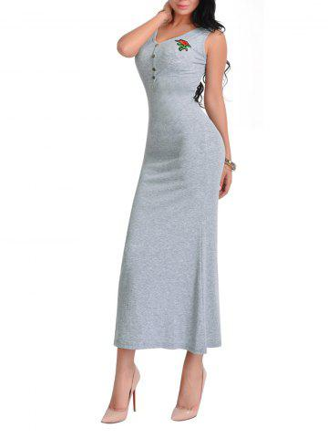 Discount Sleeveless V Neck Floral Embroidered Maxi Dress - ONE SIZE LIGHT GREY Mobile