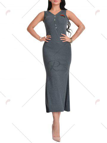 Hot Sleeveless V Neck Floral Embroidered Maxi Dress - ONE SIZE DEEP GRAY Mobile