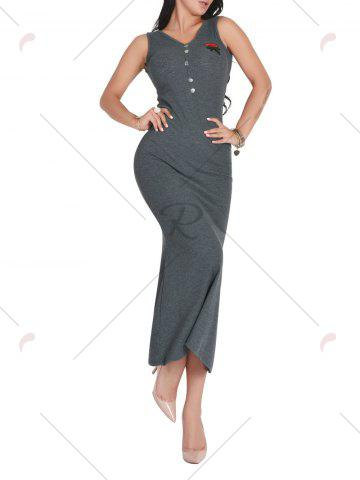 Best Sleeveless V Neck Floral Embroidered Maxi Dress - ONE SIZE DEEP GRAY Mobile