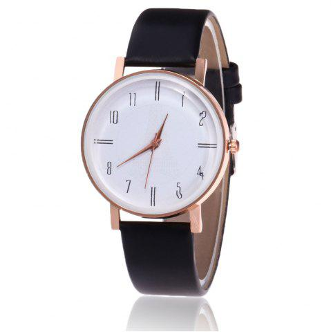 Minimalist Faux Leather Strap Number Watch - Black
