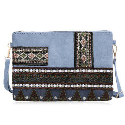 Faux Leather Floral Embroidery Crossbody Bag - Light Blue