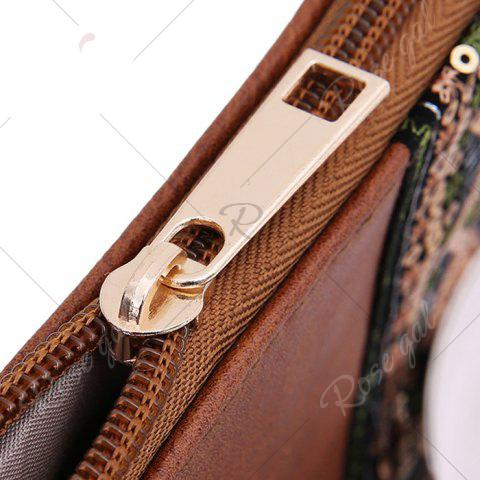 Cheap Faux Leather Floral Embroidery Crossbody Bag - BROWN  Mobile
