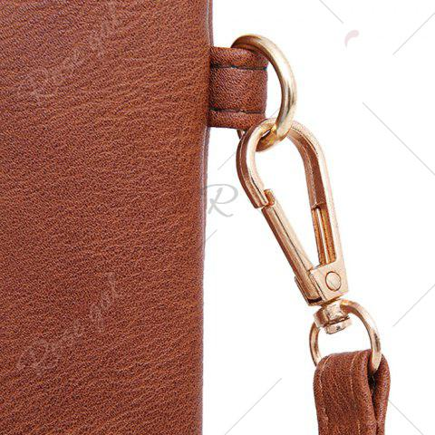 Sale Faux Leather Floral Embroidery Crossbody Bag - BROWN  Mobile