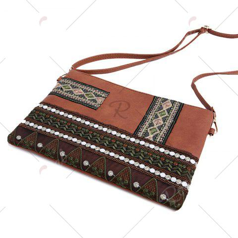 Buy Faux Leather Floral Embroidery Crossbody Bag - BROWN  Mobile