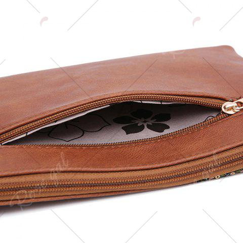Fashion Faux Leather Floral Embroidery Crossbody Bag - BROWN  Mobile