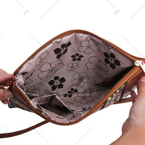 Unique Faux Leather Floral Embroidery Crossbody Bag - BROWN  Mobile
