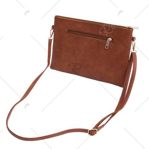 Discount Faux Leather Floral Embroidery Crossbody Bag - BROWN  Mobile