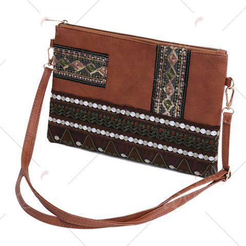Online Faux Leather Floral Embroidery Crossbody Bag - BROWN  Mobile
