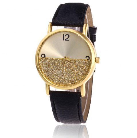 Fashion Glitter Face Faux Leather Strap Watch - BLACK  Mobile