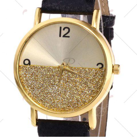 Cheap Glitter Face Faux Leather Strap Watch - BLACK  Mobile