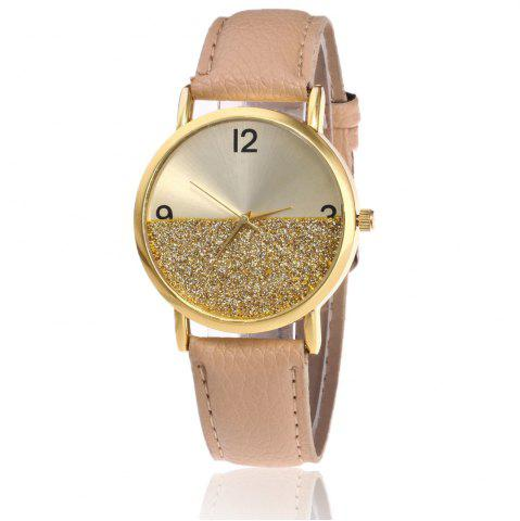 Sale Glitter Face Faux Leather Strap Watch