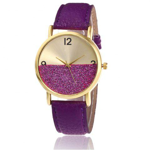 Online Glitter Face Faux Leather Strap Watch PURPLE
