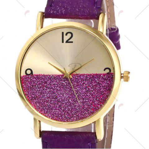 Hot Glitter Face Faux Leather Strap Watch - PURPLE  Mobile