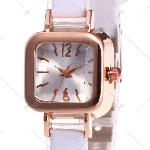 Buy Faux Leather Strap Square Shape Watch - WHITE  Mobile