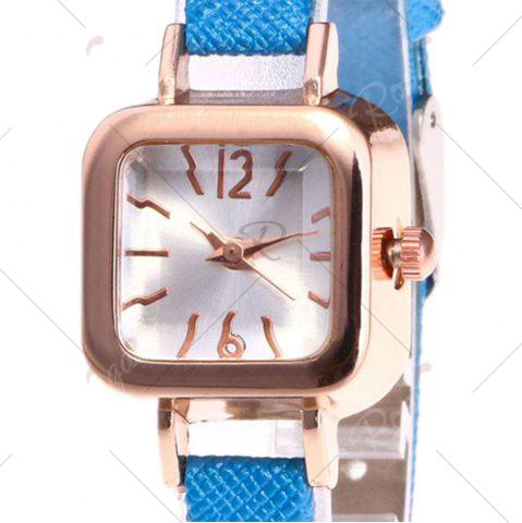 Hot Faux Leather Strap Square Shape Watch - BLUE  Mobile