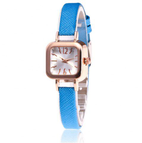 Faux Leather Strap Montre carrée Bleu