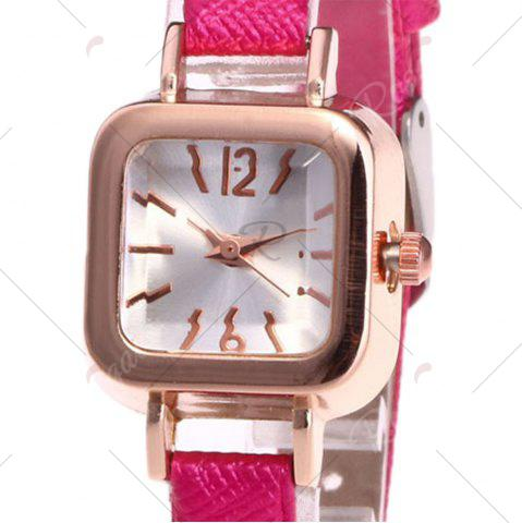 Outfit Faux Leather Strap Square Shape Watch - TUTTI FRUTTI  Mobile