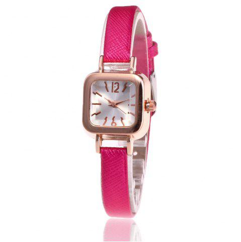 Hot Faux Leather Strap Square Shape Watch