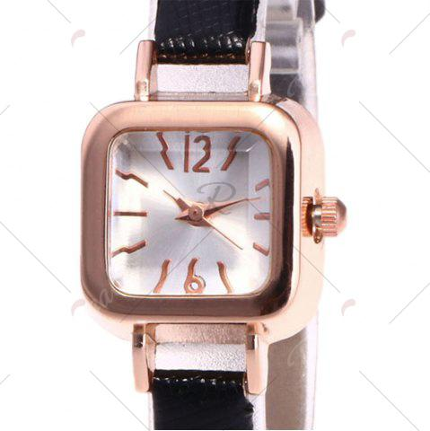 Outfit Faux Leather Strap Square Shape Watch - BLACK  Mobile