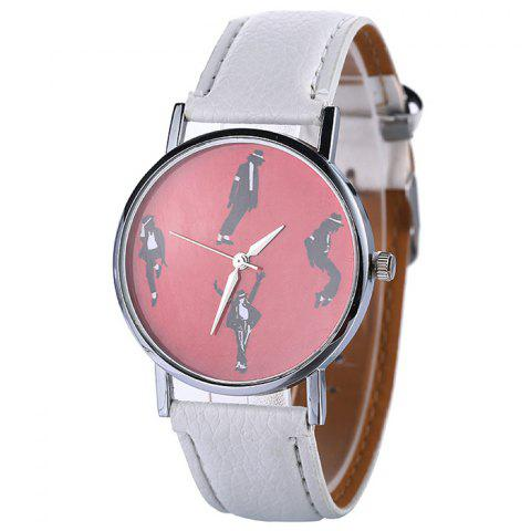 Outfit Michael Jackson Pattern Faux Leather Strap Watch - WHITE  Mobile