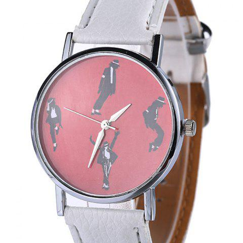 Fancy Michael Jackson Pattern Faux Leather Strap Watch - WHITE  Mobile