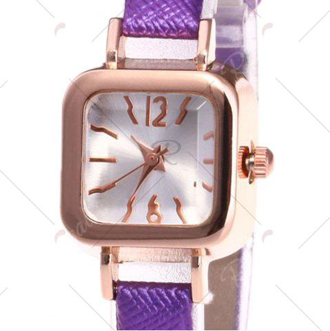 Outfit Faux Leather Strap Square Shape Watch - PURPLE  Mobile