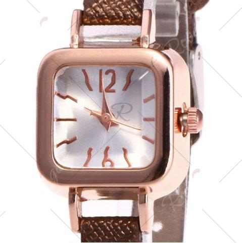 Cheap Faux Leather Strap Square Shape Watch - BROWN  Mobile