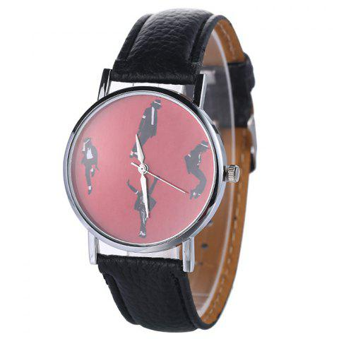 Fancy Michael Jackson Pattern Faux Leather Strap Watch BLACK