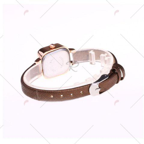 Best Faux Leather Strap Square Shape Watch - BROWN  Mobile