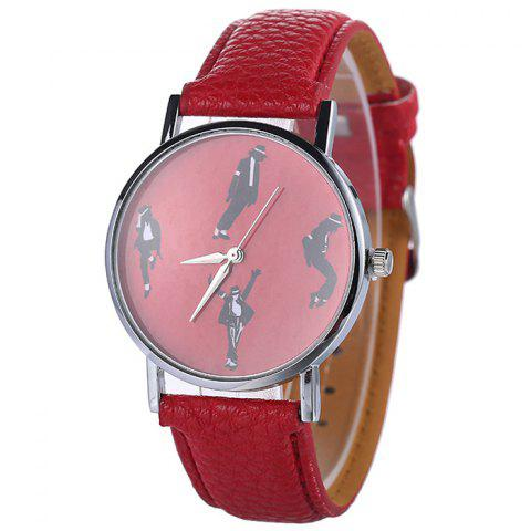Michael Jackson Pattern Faux Leather Strap Watch Rouge