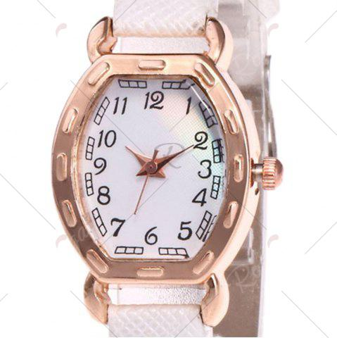 Cheap Faux Leather Band Number Watch - WHITE  Mobile