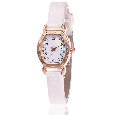 Best Faux Leather Band Number Watch WHITE