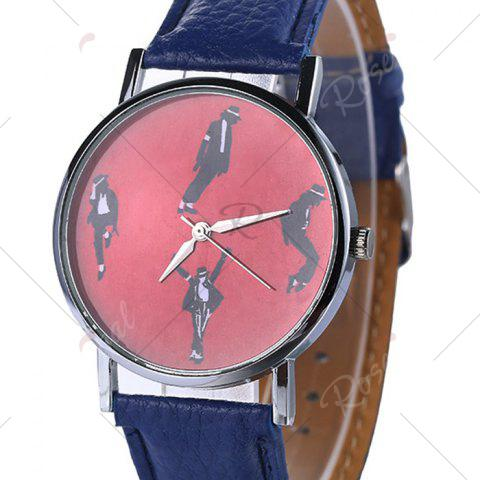 Outfits Michael Jackson Pattern Faux Leather Strap Watch - BLUE  Mobile