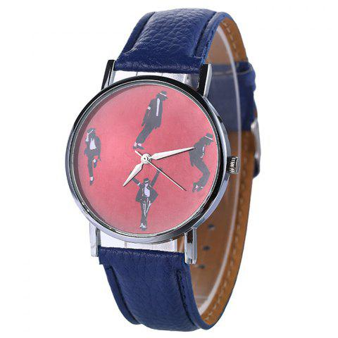 Michael Jackson Pattern Faux Leather Strap Watch Bleu
