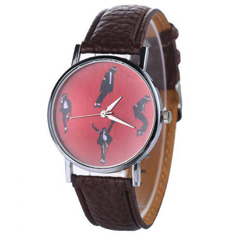 Fancy Michael Jackson Pattern Faux Leather Strap Watch - BROWN  Mobile